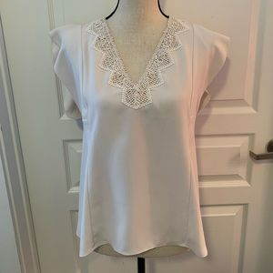 Rebecca Taylor cream lace short sleeve blouse